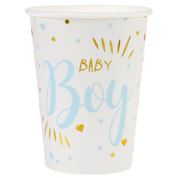 Becher 'Baby Boy' (10 Stück) - weiß, gold & hellblau