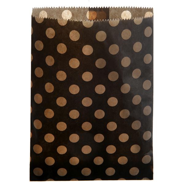 Papiertüten Punkte (24 Stück) - schwarz & kraft