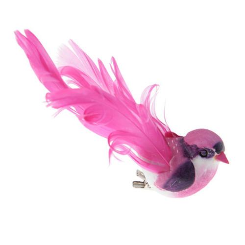 Deko-Vögel mit Clip (2 Stück), groß - pink