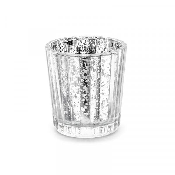 Windlicht aus Glas Vintage (4 Stück) - silber