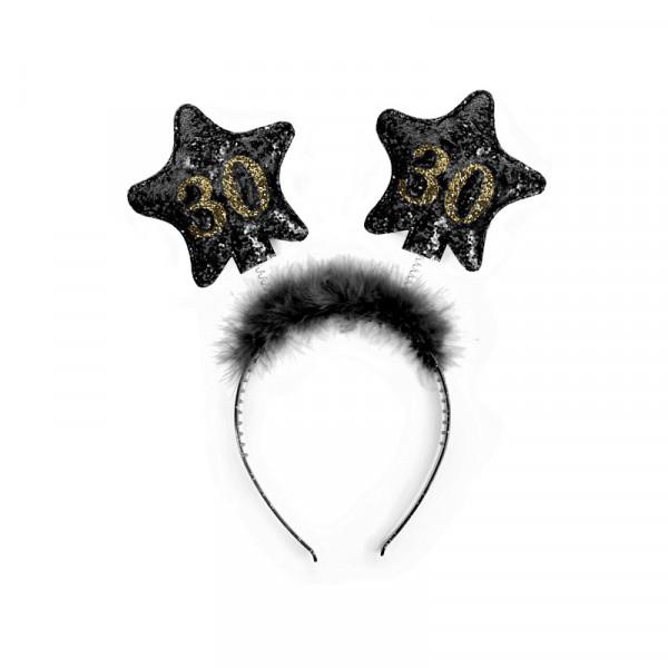 Haarreif mit Federn & Sternen '30' - schwarz & gold