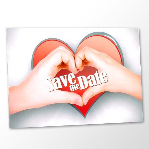 Save the Date Karte Hochzeit - Hand aufs Herz