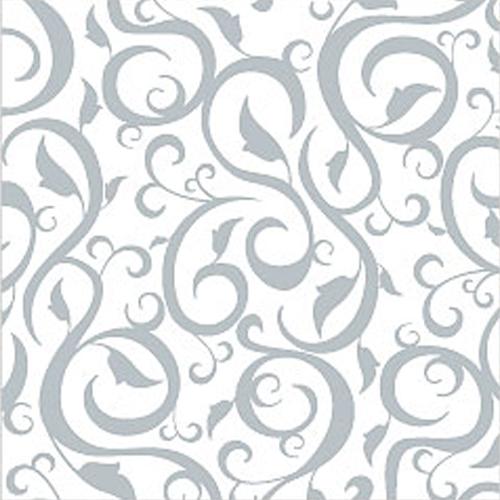 Dinnerservietten Ornament (12 Stück) - weiß & silber