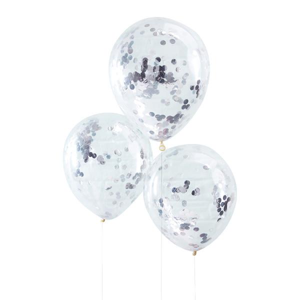 Konfetti Luftballons 5 Stück - silber