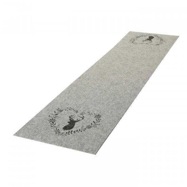 Tischläufer 'Hirsch mit Herzkranz', Filz 120 cm x 30 cm - hellgrau