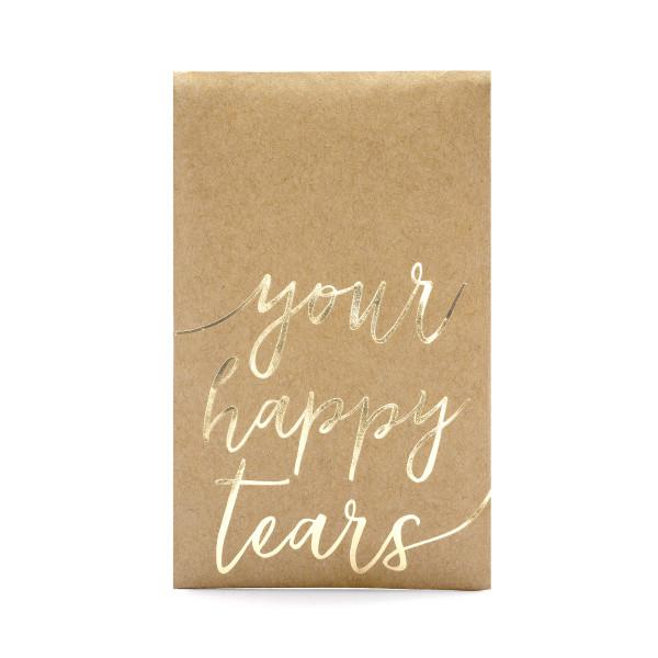 Taschentücher im Flachbeutel 'Your Happy Tears' (10 Sets) - gold