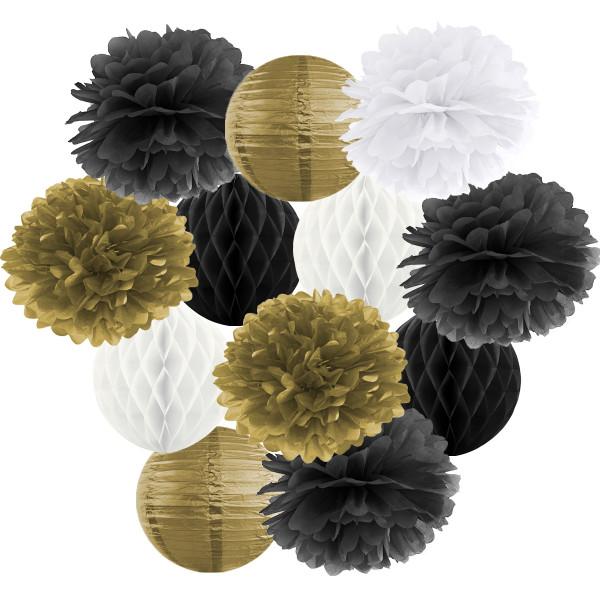 Hängedekoration 12 teilig Mix schwarz, gold & weiß
