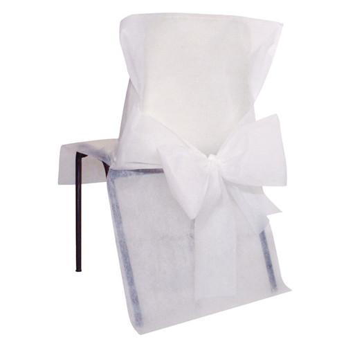 Stuhlhussen mit Schleife, Vlies (10 Stück) weiß