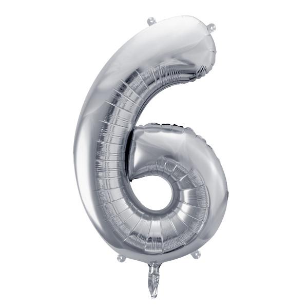 Folienballon '6' 86 cm - silber