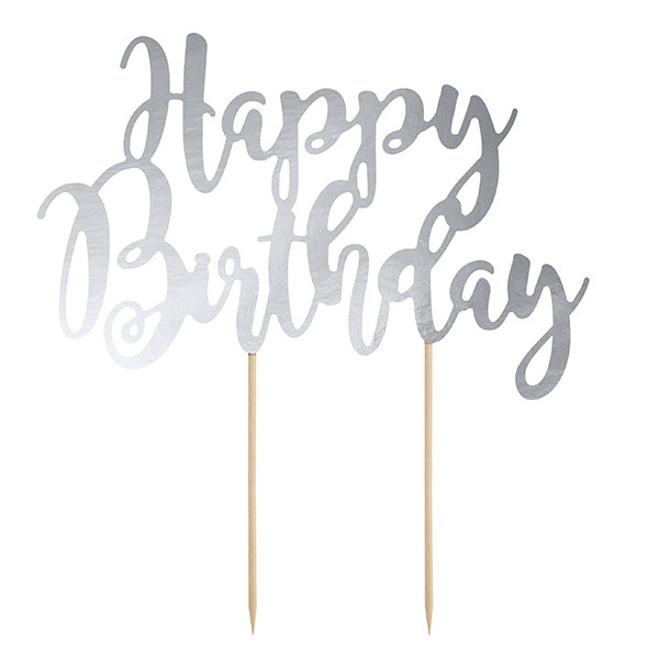 Tortenstecker Happy Birthday Silber