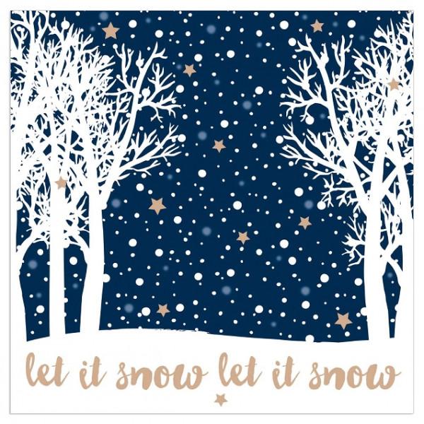 Servietten 'Let it snow' (20 Stück) - blau