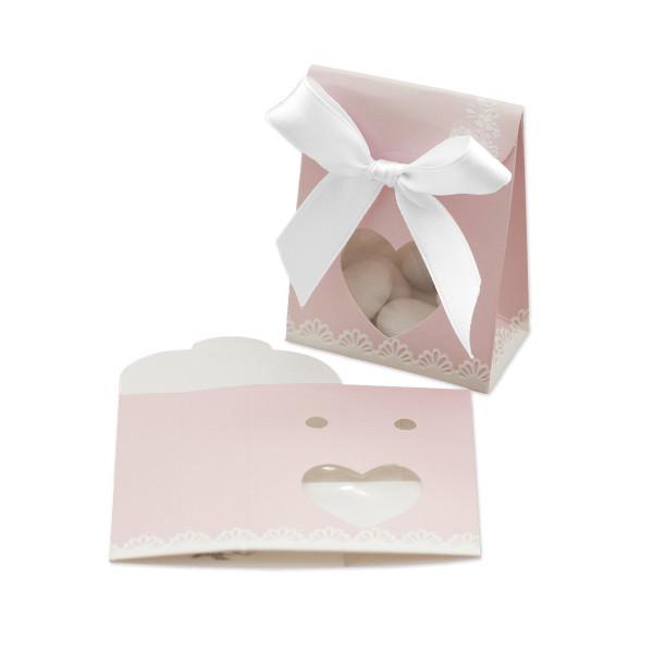 Kartonage 'Sacchetto Herz' shabby chic - rosa