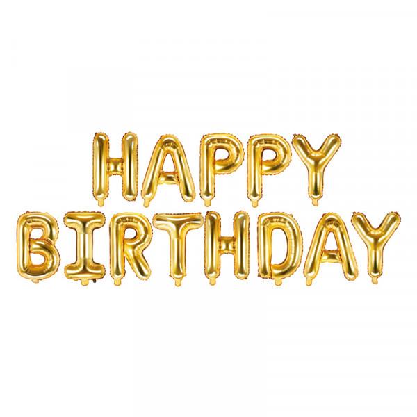 Folienballon Set 'Happy Birthday' 340 cm - gold