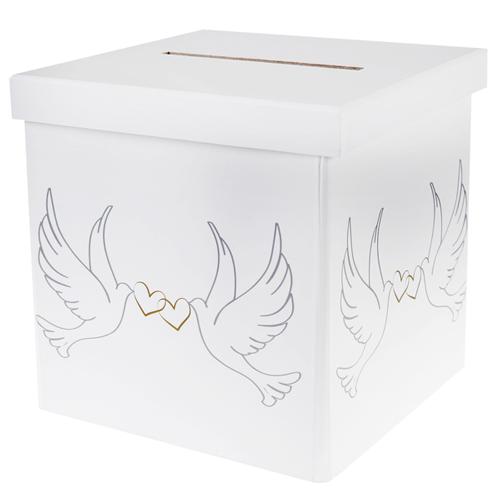 Briefbox / Geschenkbox 'Taube' 20 x 20 cm - weiß
