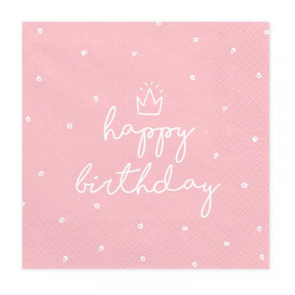 Servietten Happy Birthday Krone (20 Stück) - rosa