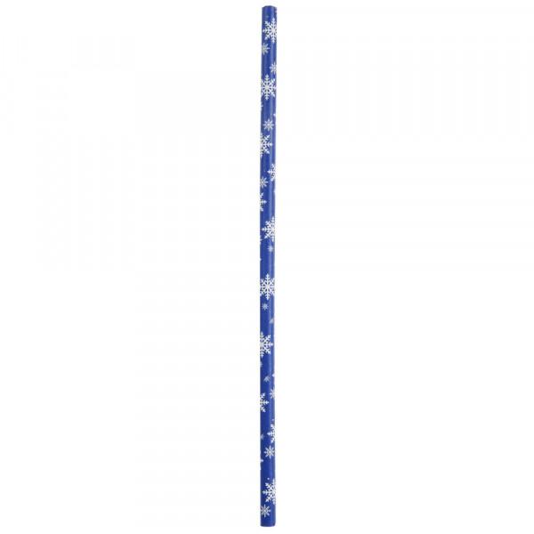 Strohhalme / Trinkhalme 'Schneeflocken' (20 Stück) - blau