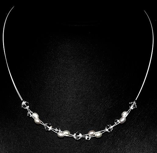 Halskette 'Cassie' mit Süßwasserperlen & Glasperlen