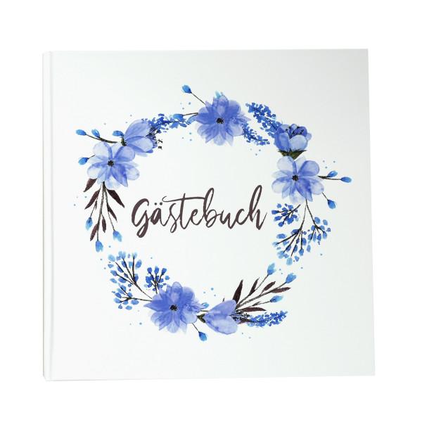 Gästebuch 'Blumenkranz Blau'