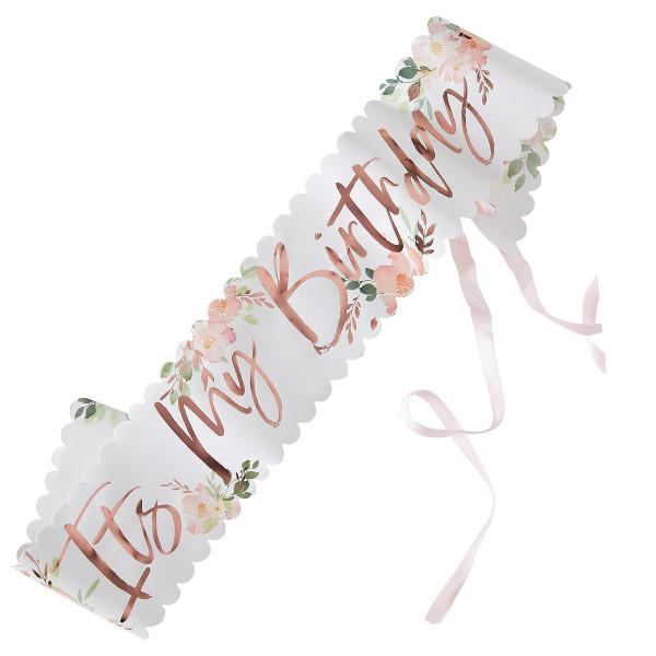 Floral 'It's my Birthday' Schärpe Geburtstag
