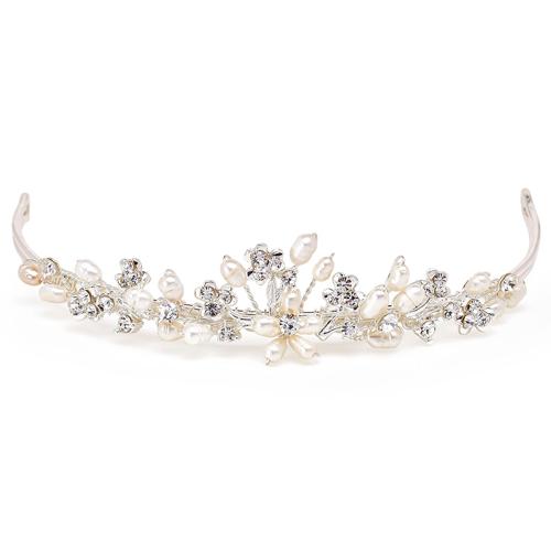 Kleines Diadem 'Agneta' mit Perlen & Strass