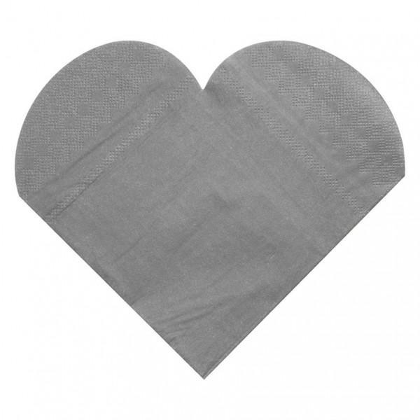Servietten Herz (20 Stück) - silber
