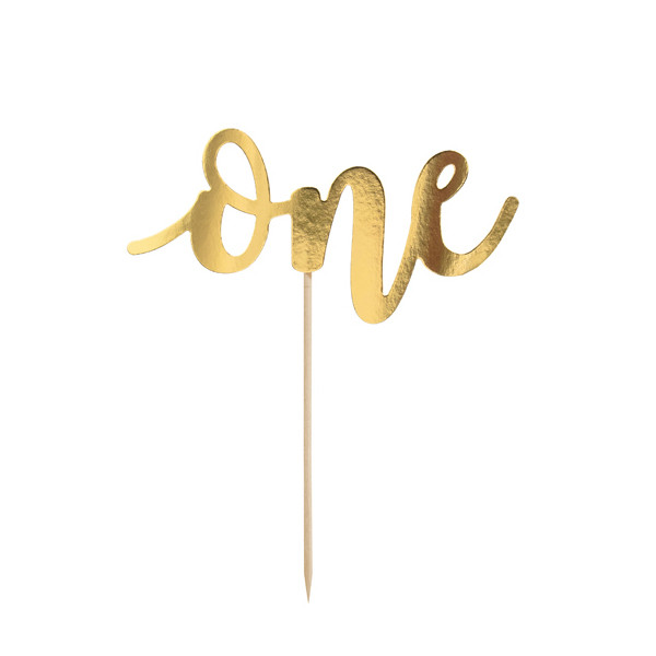 Tortenstecker 'One' 1. Geburtstag - gold
