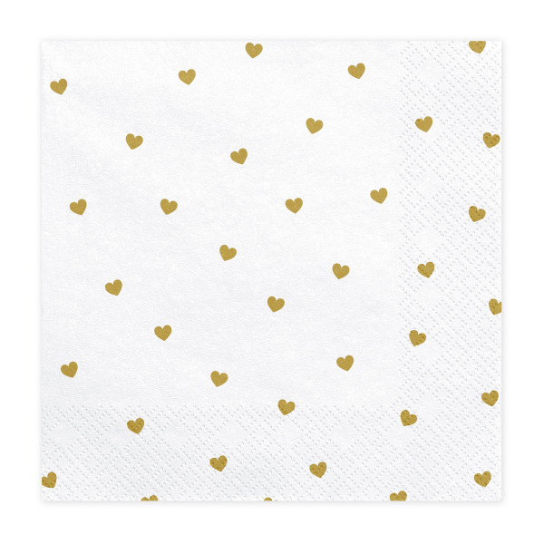 Servietten Herzen (20 Stück) weiß & gold