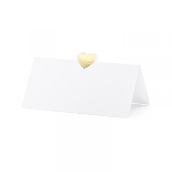 Tischkarte 'Herz' (10 Stück) - weiß & gold