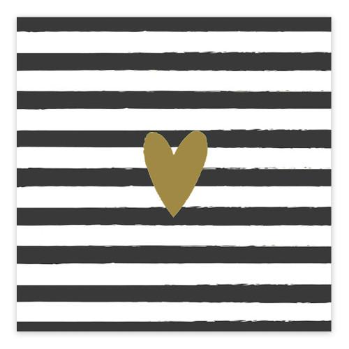 Servietten gestreift mit goldenem Herz (20 Stück) - schwarz