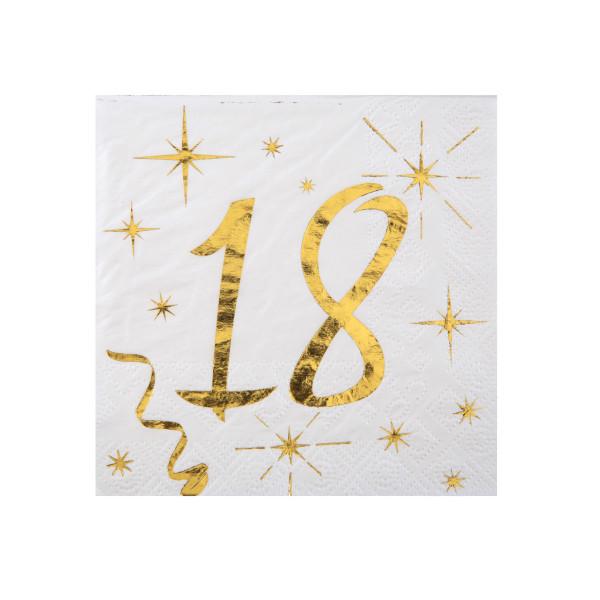 Cocktail Servietten 18. Geburtstag - weiß & gold