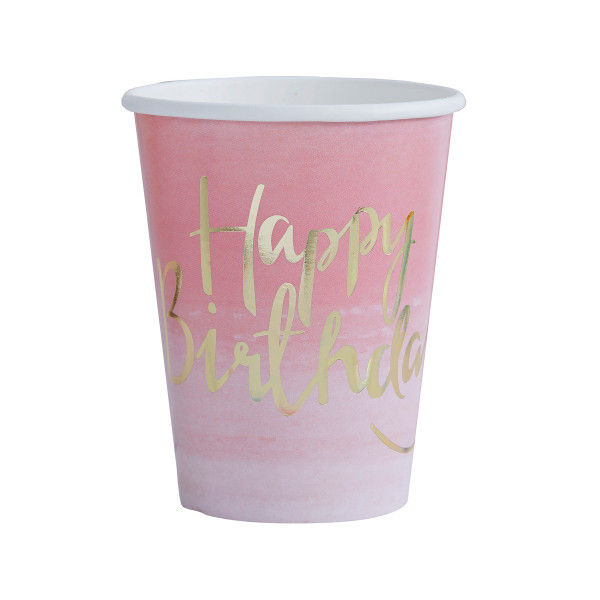 Ombre Party Becher Happy Birthday 8 Stück - rosa & gold