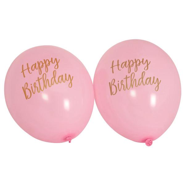 Luftballons Happy Birthday (8 Stück) - rosa & gold