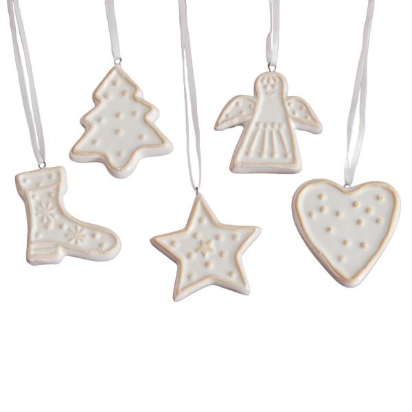 Hänger 'Ornamente' Weihnachten Keramik (5 Stück) - weiß