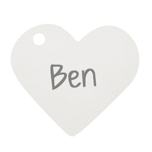 Anhänger / Tischkärtchen Herz (10 Stück) - weiß