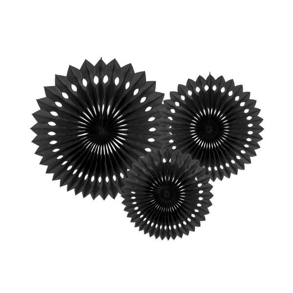 Dekofächer / Dekorosetten 3-teilig - schwarz
