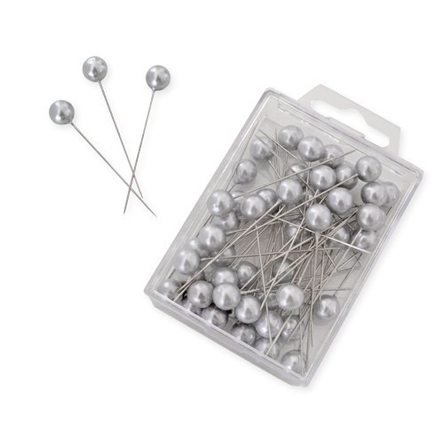 Perlkopf Dekonadeln Silber 10 mm 50 Stück