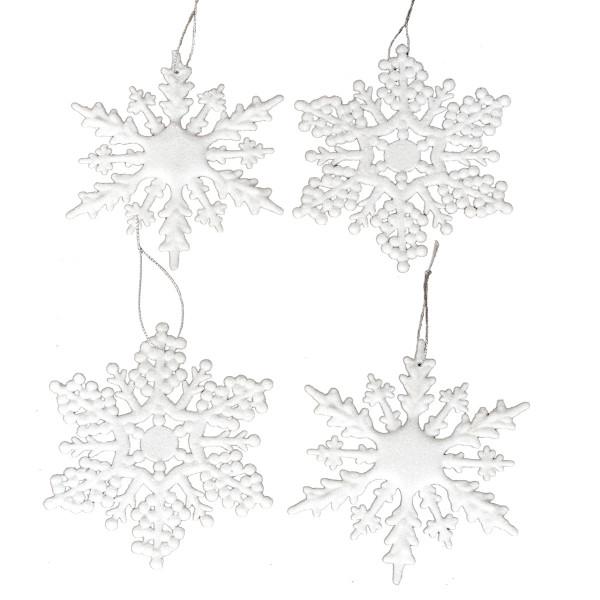 Hänger Eiskristalle Schneeflocke (4 Stück) - weiß