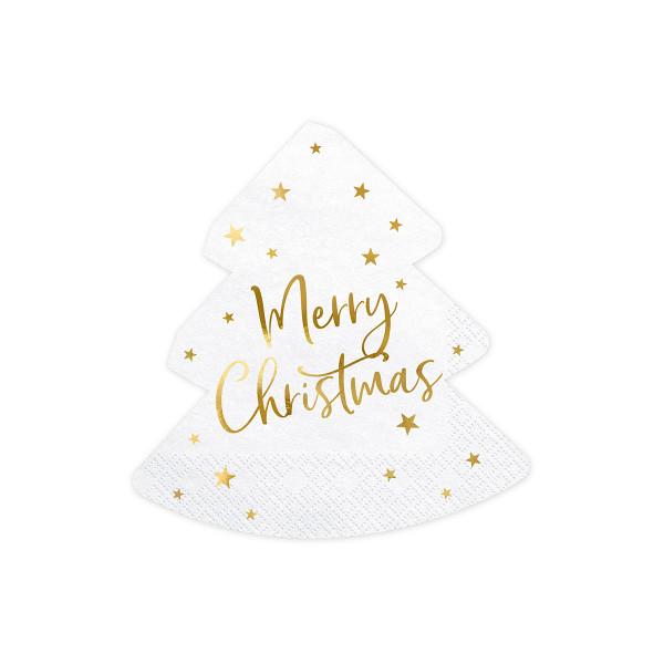 Servietten Weihnachtsbaum 'Merry Christmas' (20 Stück) - weiß & gold