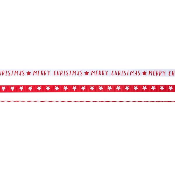 Geschenk Bänder 'Sterne & Merry Christmas' 3 x 5 m - rot & weiß