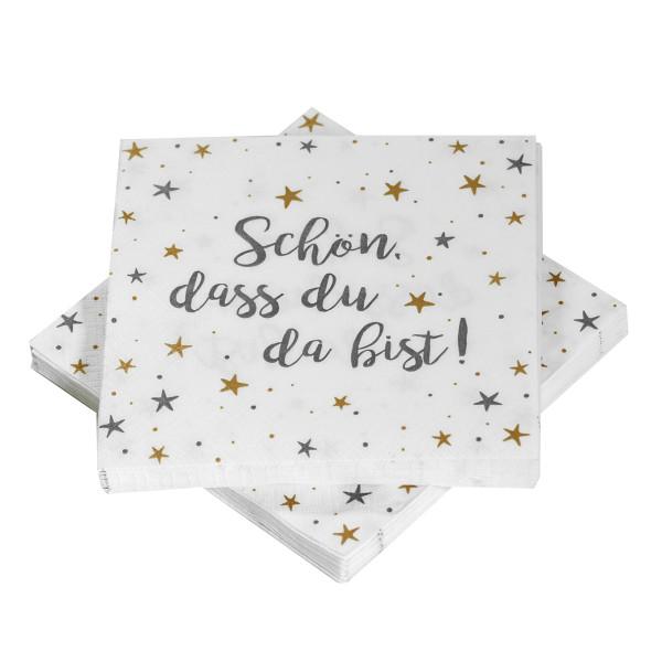 Servietten 'Sterne' Schön, dass du da bist - grau/gold/weiß (20 Stück)