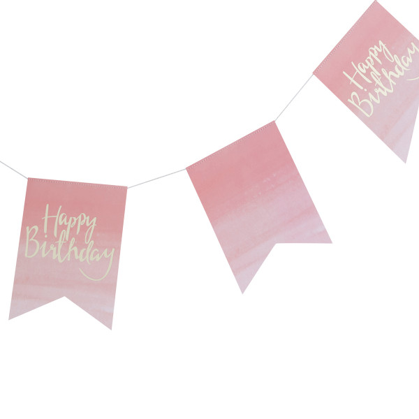 Ombre Party Girlande Happy Birthday - rosa & gold