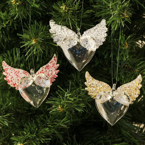 Hänger 'Herz mit Flügel' Baumschmuck (3 Stück) - Glas