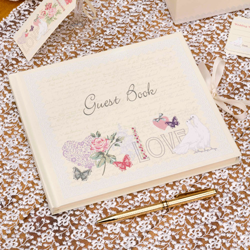 Gästebuch 'With Love' - creme