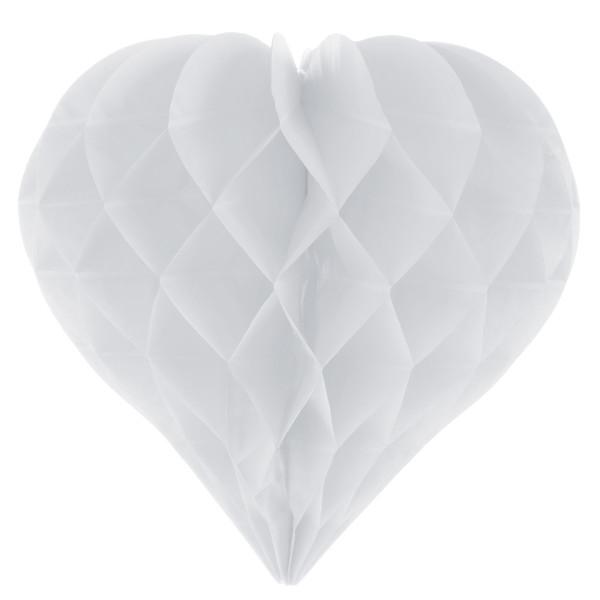 Herz Honeycomb / Wabenball 25 cm (2 Stück) - weiß