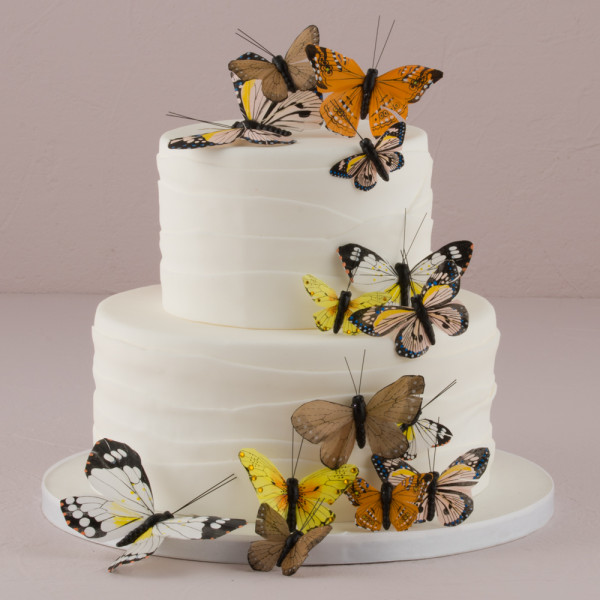 Tortendekoration Schmetterlinge (24 Stück) - braun / natur