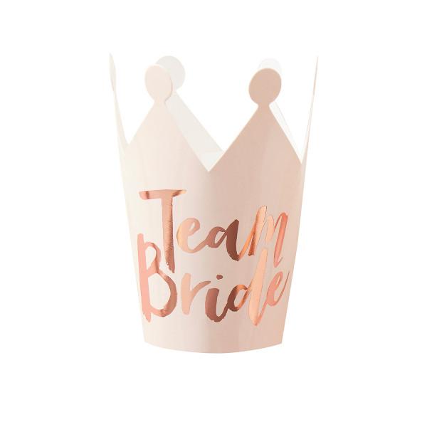 Team Bride Kronen (5 Stück) - rosa & roségold