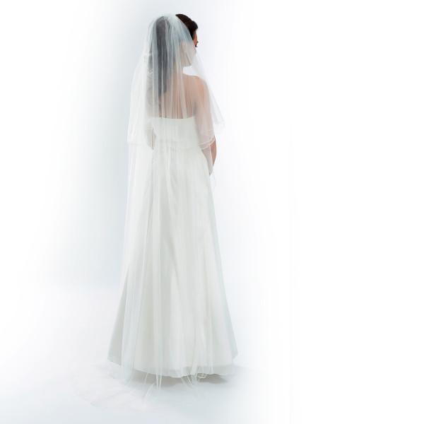 Brautschleier 'Soft' mit Kurbelkante Länge 220 / 80 cm - creme