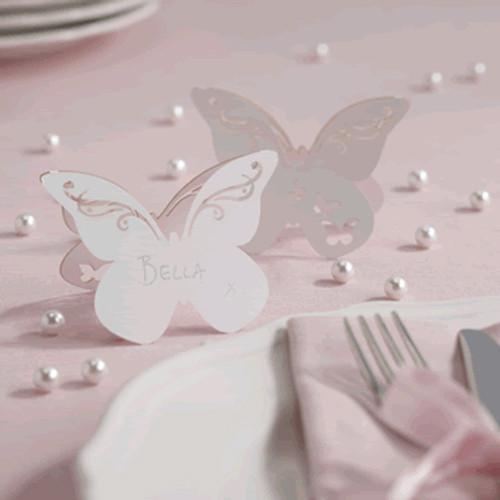 Tischkarte 'Schmetterling' (10 Stück) - weiß