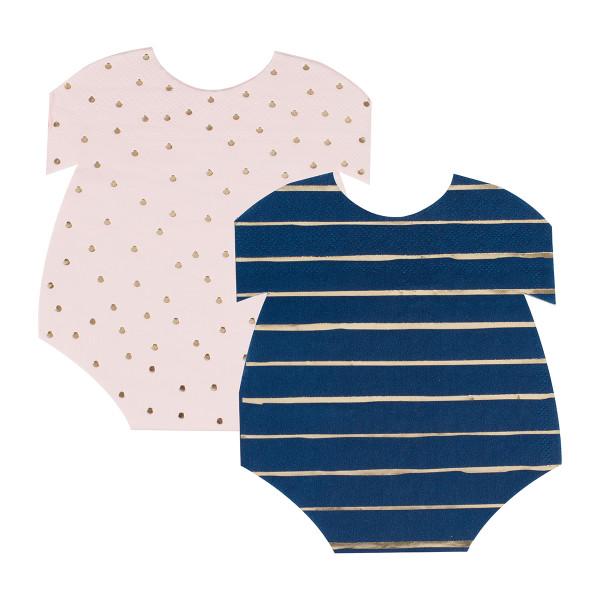 Gender Reveal Body Servietten rosa & blau 16 Stück