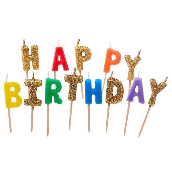 Regenbogen Geburtstagskerzen 'Happy Birthday'